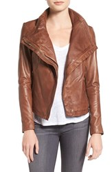 Lamarque Women's Funnel Neck Moto Jacket Toffee