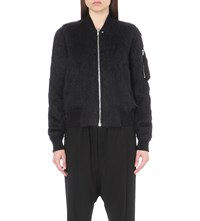 Rick Owens Zipped Mohair And Wool Blend Biker Jacket Black