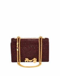 Valentino Beaded Monkey Leather Shoulder Bag Burgandy