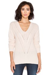 Autumn Cashmere Hi Lo Cable V Neck Sweater Blush