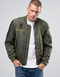 Denim And Supply Ralph Lauren Bomber Jacket With Chest Patches In Green Olive