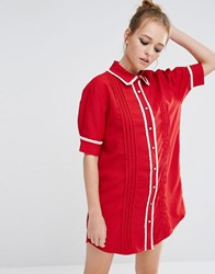 Sister Jane Ruffle Detail Shirt Dress Red