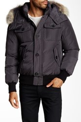 Mackage Quentin Genuine Coyote Fur And Genuine Leather Trimmed Down Jacket Gray