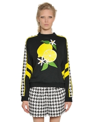 Emma Cook Lemon Patches On Heavy Cotton Sweatshirt Black Yellow