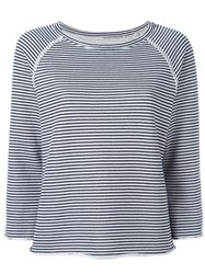 Current Elliott 'Boxy' Striped Sweatshirt Blue