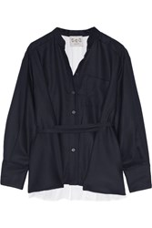 Sea Wool Pique And Cotton Poplin Shirt Navy