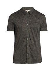 John Varvatos Lightweight Linen Jersey Polo Shirt Grey