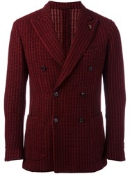 Gabriele Pasini Ribbed Double Breasted Blazer Red