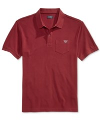 Armani Jeans Men's Pocket Polo Dark Red