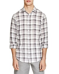 The Men's Store At Bloomingdale's Plaid Linen Button Down Shirt Grey Combo