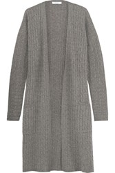 Max Mara Azulene Cable Knit Wool And Cashmere Blend Cardigan Light Brown