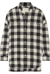 R 13 R13 Oversized Plaid Cotton And Wool Blend Shirt Black