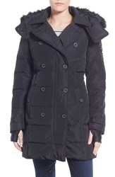 Women's Nanette Lepore Hooded Down Peacoat With Faux Fur Trim Black