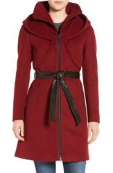 Soia And Kyo Women's 'Arya' Hooded Wool Blend Coat With Belt Marsala