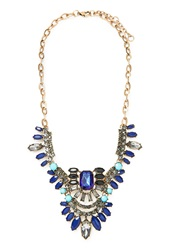 Forever 21 Faux Gemstone Statement Necklace Antic Gold Navy