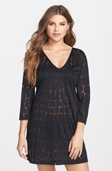J Valdi Crocodile Burnout Cover Up Tunic Black