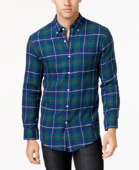 John Ashford Men's Big And Tall Long Sleeve Tartan Plaid Shirt Only At Macy's Navy Blue