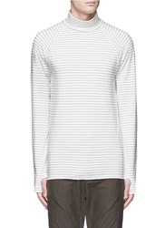 Studio Seven Stripe Turtleneck Long Sleeve T Shirt White