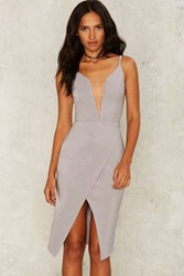 Rare London Combined Forces Plunging Dress Gray
