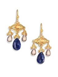 Anthony Camargo Champagne Quartz Citrine Sapphire And 14K Yellow Gold Baby Chandelier Earrings Gold Multi