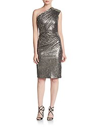 David Meister Beaded Foiled Metallic One Shoulder Dress Silver
