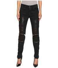Just Cavalli Distressed Coated Zip Detail Skinny Jeans Black Women's Jeans