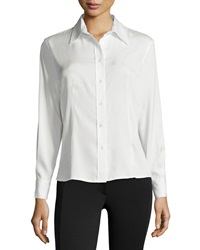 Carolina Herrera Silk Blend Button Down Top Ivory