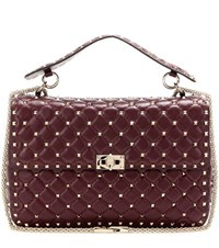 Valentino Rockstud Spike Quilted Leather Handbag Red