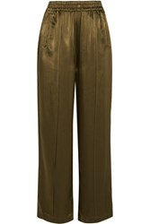 Ganni Satin Wide Leg Pants Army Green