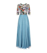 Jenny Packham Embroidered Bodice Tulle Gown Female Light Blue