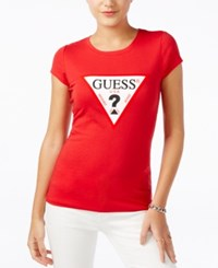 Guess Logo Graphic T Shirt Red Hot