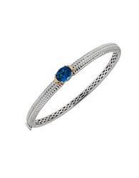 Lord And Taylor Blue Topaz Sterling Silver 14K Yellow Gold Bangle Bracelet