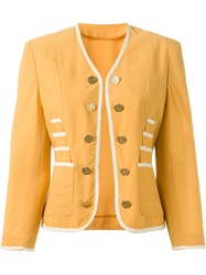 Moschino Vintage Cropped Button Jacket Yellow And Orange