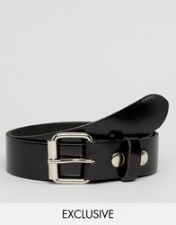 Reclaimed Vintage Patent Leather Roller Buckle Belt Black Black