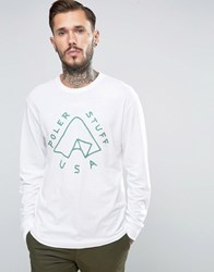 Poler Long Sleeve T Shirt With Tent Logo White