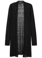 Eileen Fisher Black Fine Knit Hemp Blend Cardigan