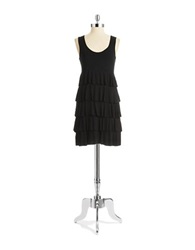Spense Tiered Shift Dress Black