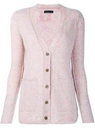 Atm Anthony Thomas Melillo V Neck Cardigan Pink And Purple