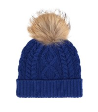 Max Mara Maxmara Weekend Stemma Cable Knit Fur Bobble Hat Female Blue