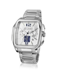 Just Cavalli Rider Gent Blue And White Dial Chronograph Watch Silver
