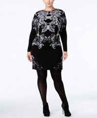 Inc International Concepts Plus Size Floral Sweater Dress Only At Macy's Deep Black