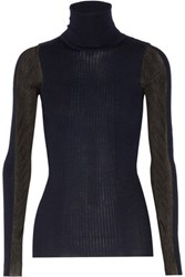 Emilio Pucci Ribbed Wool Blend Turtleneck Sweater Midnight Blue