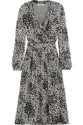 Burberry Leopard Print Silk Chiffon Wrap Dress