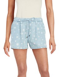 Splendid Drawstring Star Print Shorts Light Wash
