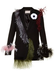 Christopher Kane Feather Embellished Notch Lapel Wool Blazer Black