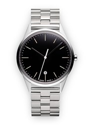 Uniform Wares C36 Women's Date Watch In Polished Steel With Polished And Brushed Black