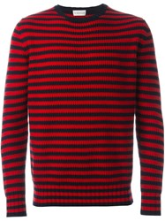 Moncler Striped Knitted Sweater Red