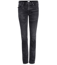 Citizens Of Humanity Mytheresa.Com Exclusive Agnes Mid Rise Slim Straight Distressed Jeans Grey