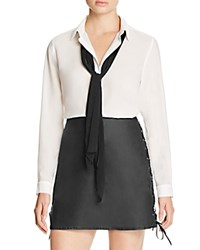 French Connection Polly Tie Neck Blouse 100 Bloomingdale's Exclusive Winter White