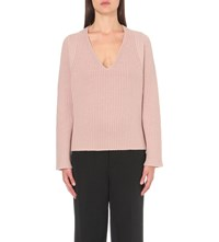 Helmut Lang V Neck Wool And Cashmere Blend Jumper Dust